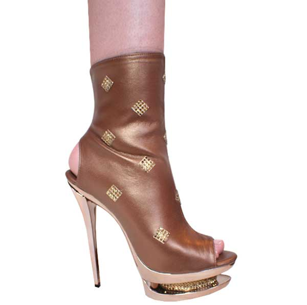 Bronze 6 Inch Pencil Heel Platform Stiletto Ankle Boots