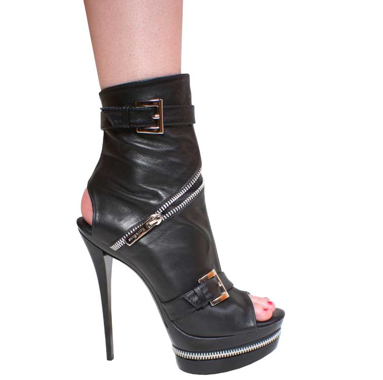 "5.5"" inch Black Leather Open Toe and Heel Bootie by Vicaro"