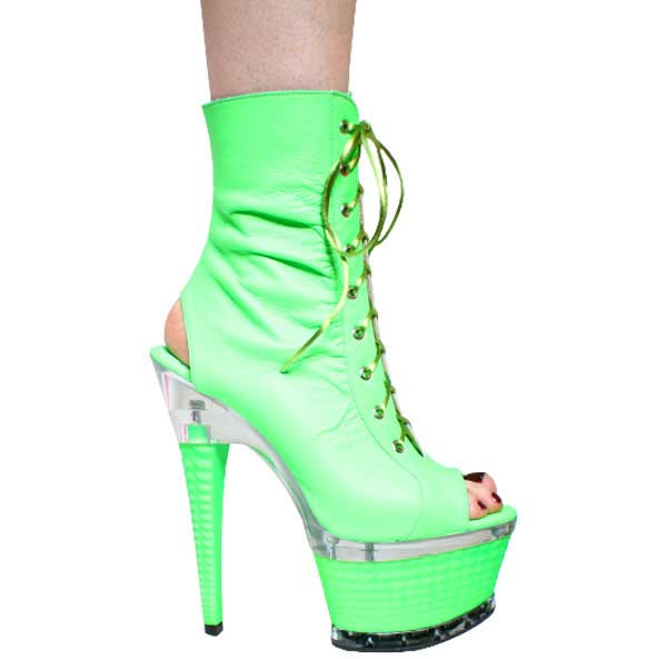 7 inch Neon Green Leather Lace up Ankle Boots
