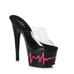 "ES:709-HEARTBEAT BLK 7"" Heart Beat Design Mule"