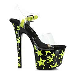 "ES:711-STARLA Yellow 7"" Heel With Blacklight Reflective Stars"