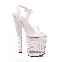 "ES:821-STACK White 8"" Pointed Stiletto Mule."