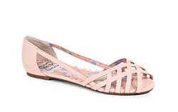 ES:BP100-CARREN Pink Criss Cross Peep Toe Flat