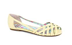 ES:BP100-CARREN Yellow Criss Cross Peep Toe Flat