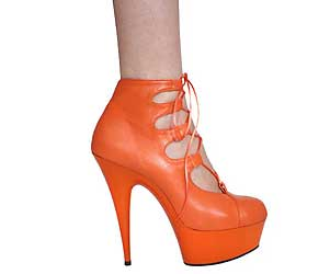 "6"" inch Orange Leather Ankle Boot"