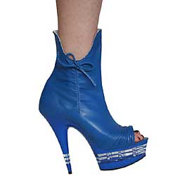 "6"" inch Royal Blue Leather Ankle Boot"