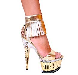 "7"" inch Gold Leather Platform Sandal w/Fringe Ankle Starp"
