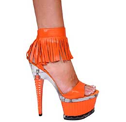 "7"" inch Orange Leather Platform Sandal w/Fringe Ankle Starp"
