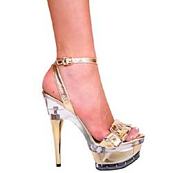 "6"" inch Gold Leather Platform Sandal"