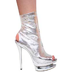 "6"" inch Metallic Silver Leather Open Toe and Heel Bootie by Vica"